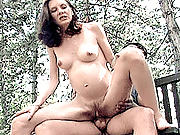 Early pregnancy mature whore getting her hairy hole pounded on the porch