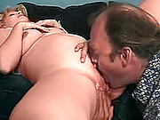 Blonde preggo bending over to fill her shaven pussy