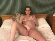 Pregnant cutie presents big belly