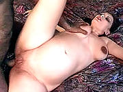 Lactating mom opening wide for some serious pussy-drilling
