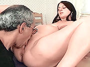 Slutty brunette preggo getting her pussy pounded by mature guy